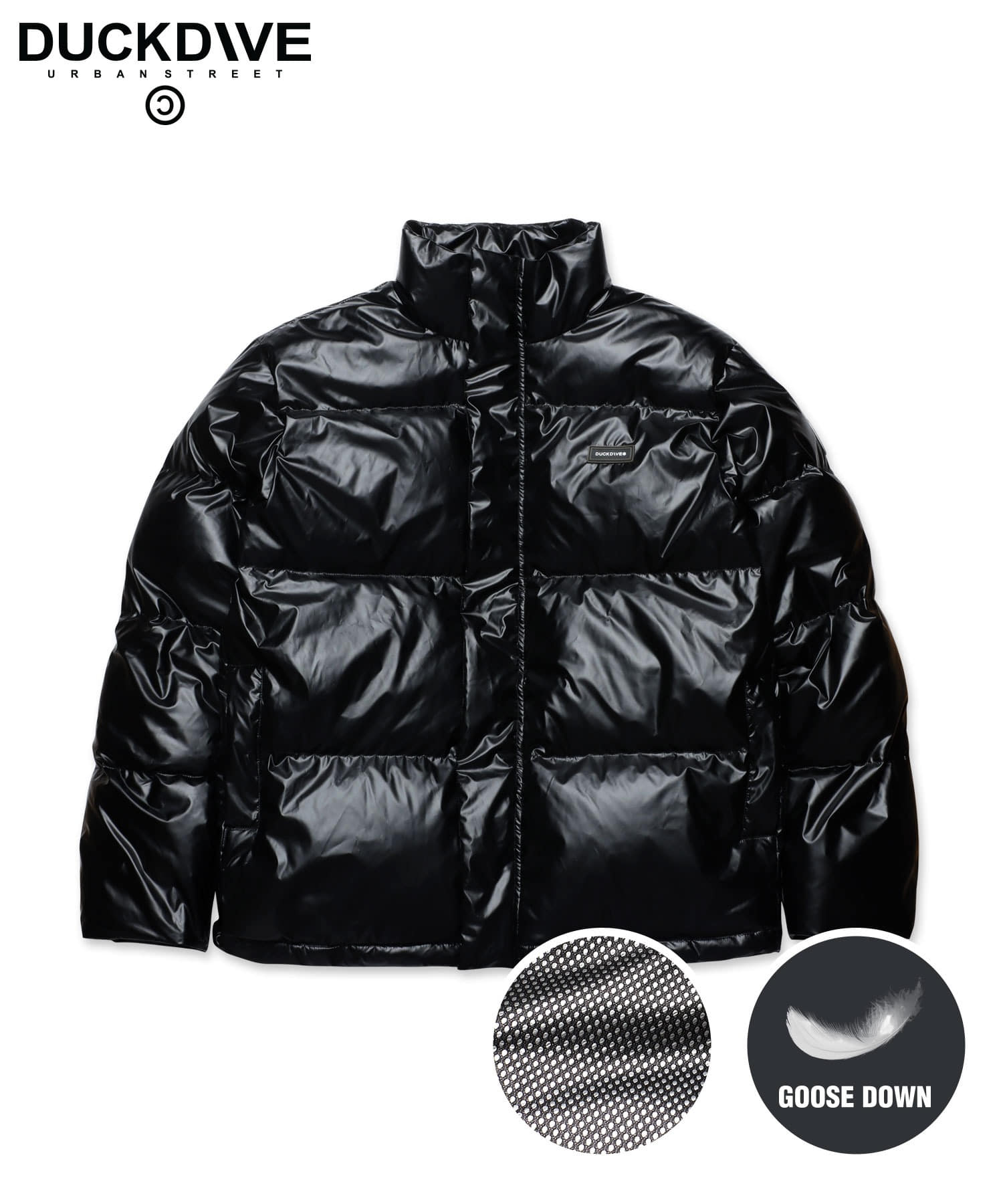 KEEPING WARM GOOSE DOWN SHORT PUFFER GLOSS BLACK